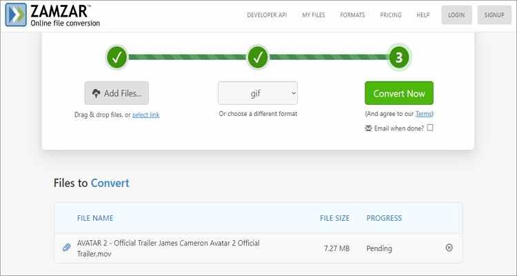 Convert WebM to GIF Online Free -Zamzar