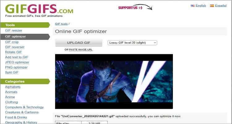 GIF-Größe kostenlos online verkleinern - Gifgifs