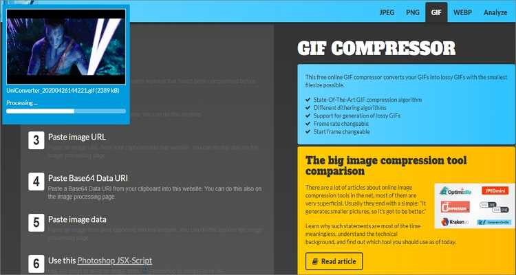 GIF-Größe kostenlos online verkleinern - Compress-Or-Die