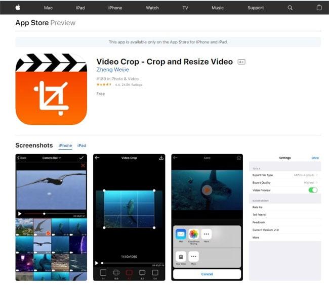 gopro bearbeitungs app für iPhone - video crop