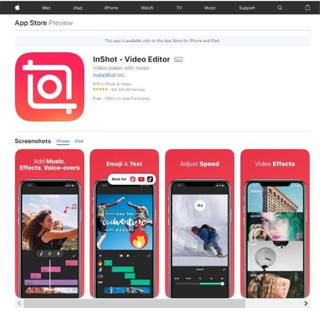 gopro bearbeitungs app für iPhone - inshot