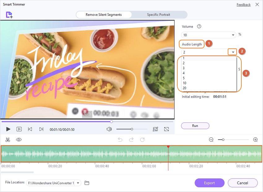 Установите длину звука для извлечения клипов