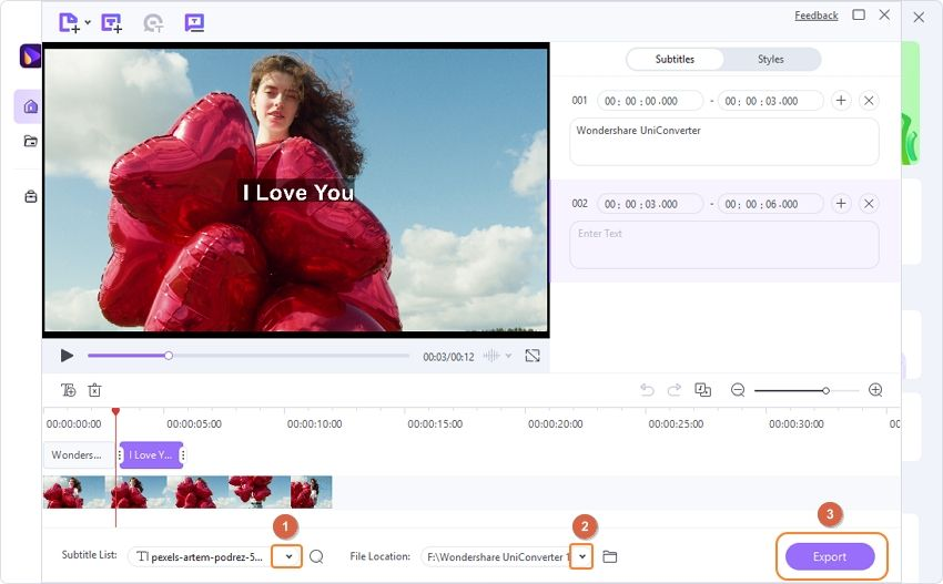 Export videos with subtitles