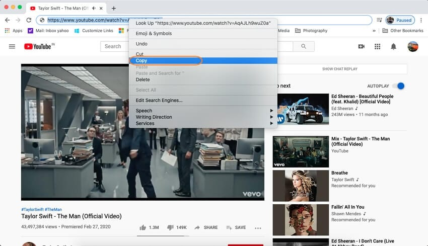 copy youtube url