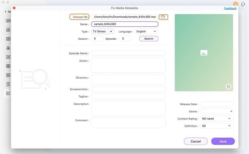 add video to metadata fix tool on Mac
