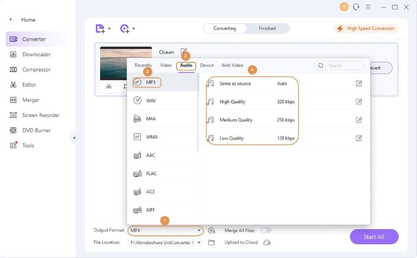 select an output format