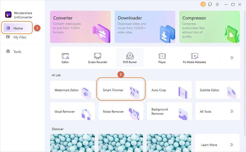 Откройте Инструменты в UniConverter