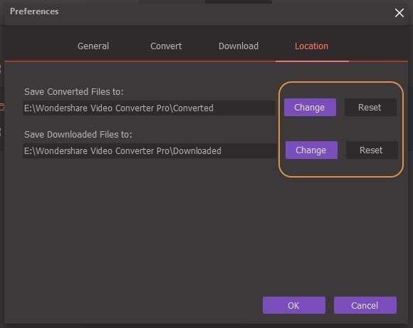 Set Wondershare Video Converter Pro - Location settings