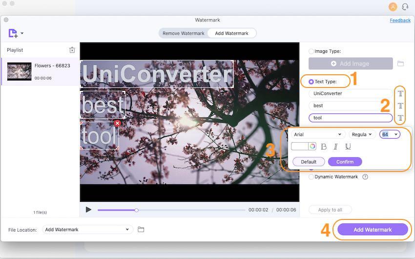 Adicionar marca d'água de texto ao vídeo mac