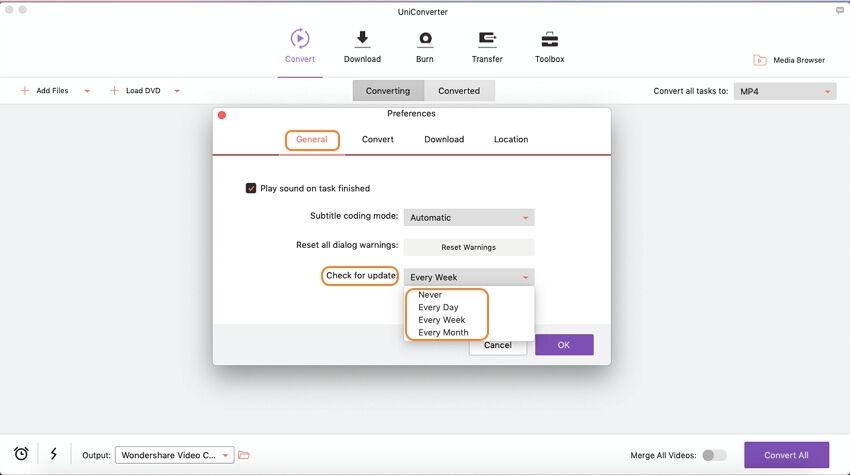 update Wondershare UniConverter for Mac