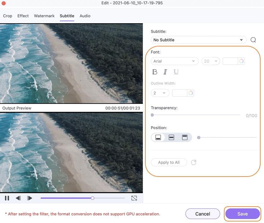 edit video subtitle on mac