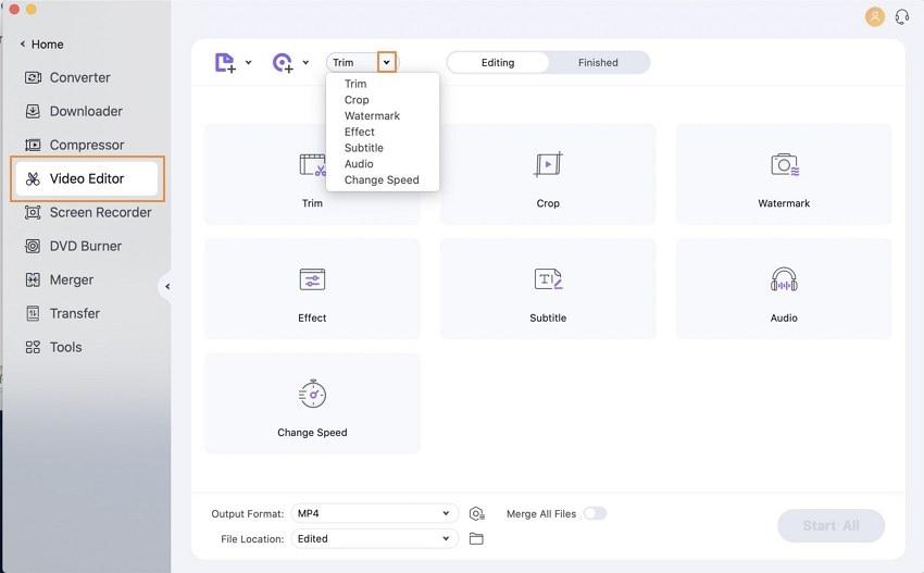 edit files with Wondershare UniConverter for Mac