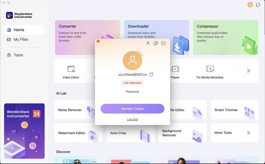 UniConverter Mac account information