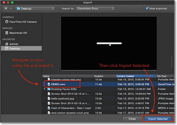 select import selected in imovie