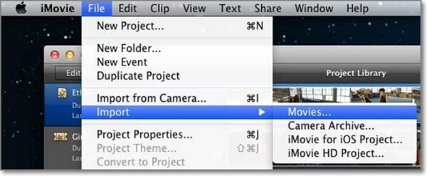 choose mov files you need to import