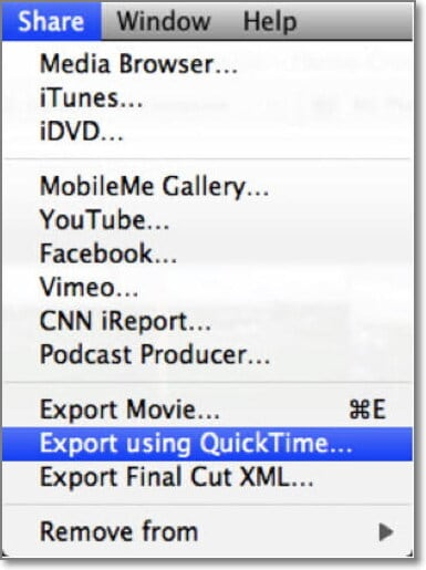 choose iDVD on iMovie