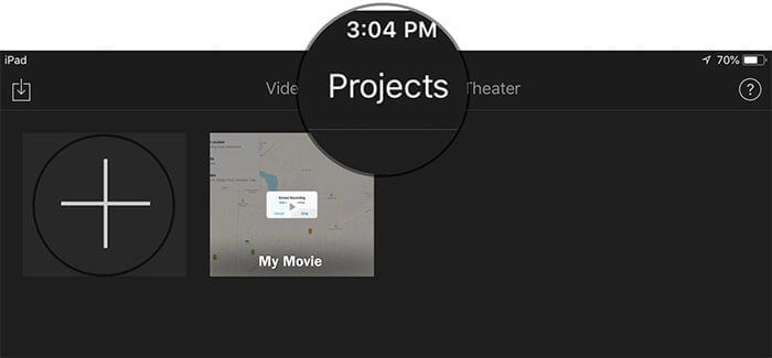 find projects on imovie