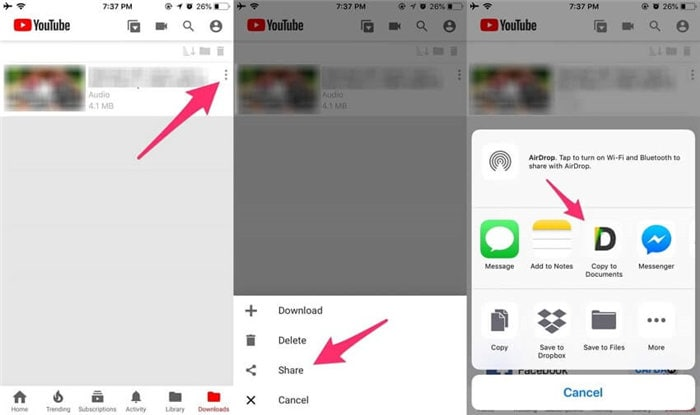 save youtube video to iphone