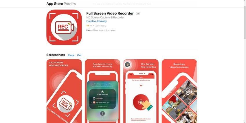 full screen record iphone