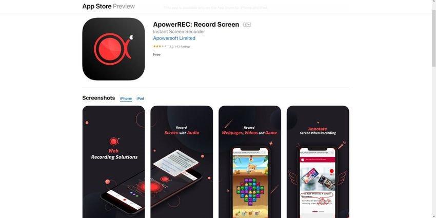 apowerrec screen record iphone