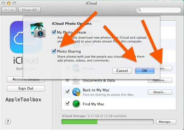 enable photo sharing on mac