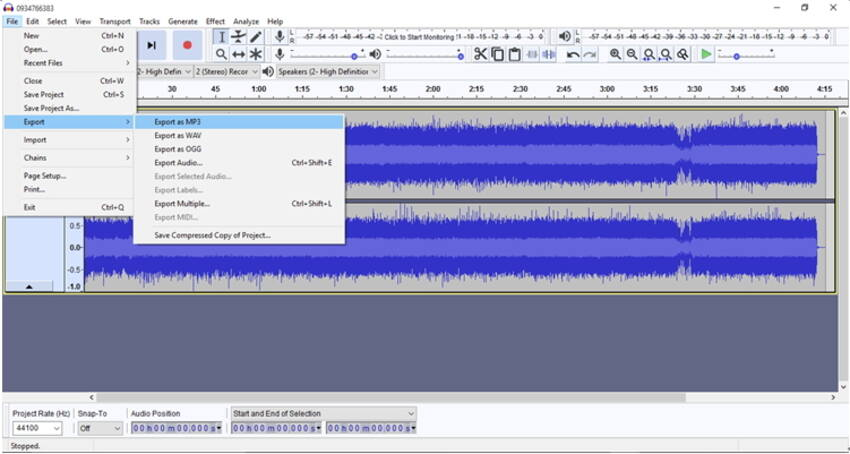 aExport to MP3 file