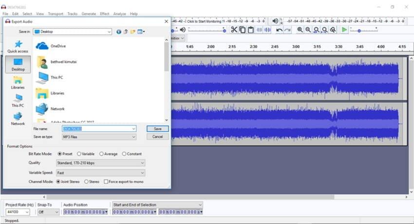 Convert M4A to MP3 audacity