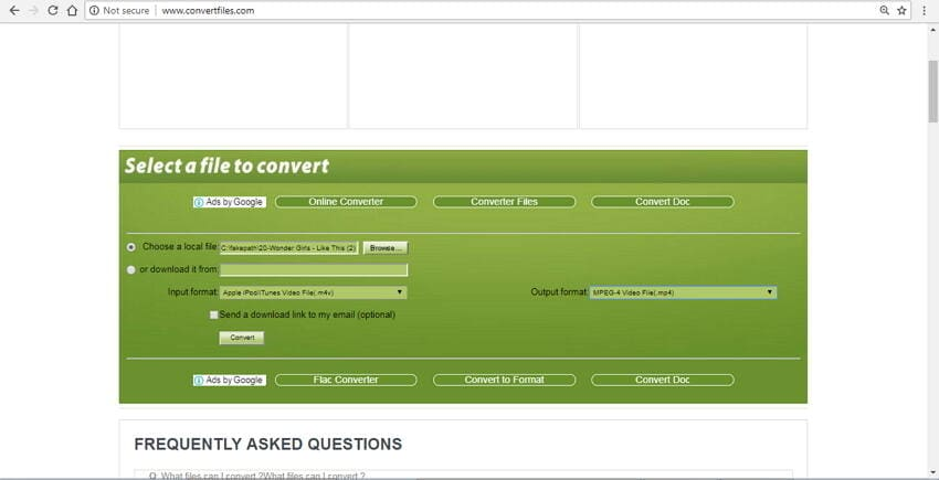 convert m4v to mp4 online with Convert.files