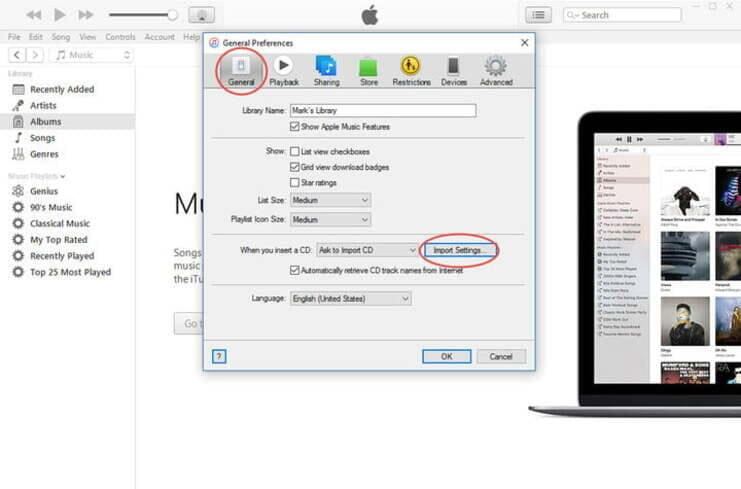 itunes general preference