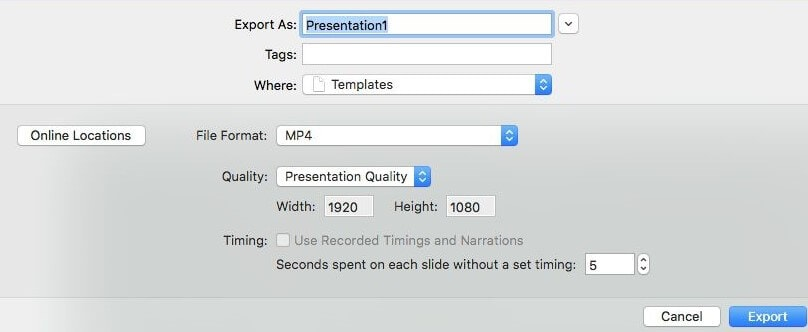 choose video quality to convert PPT