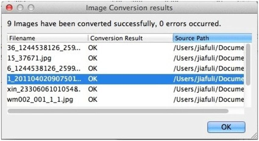 Save converted JPEG files
