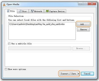 convert MKV to WAV - add mkv files in VLC