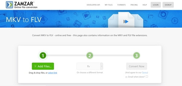convert MKV to FLV online by Zamzar