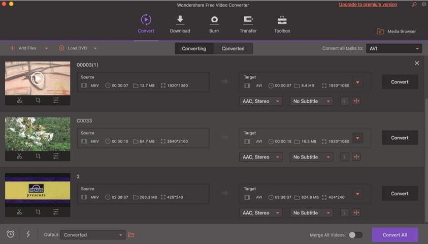 конвертировать MKV в MOV с помощью бесплатного видео конвертера Wondershare