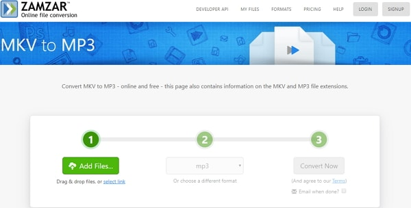 convert MKV to MP3 online by Zamzar