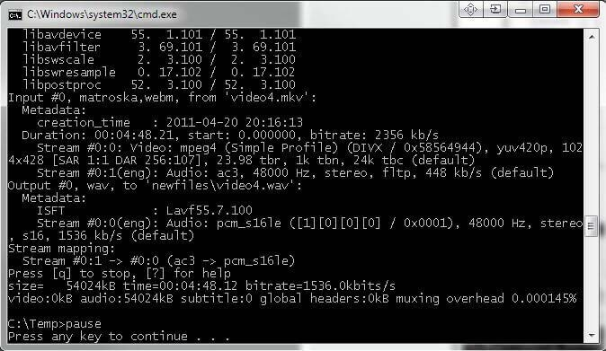 ffmpeg convert MKV to MP4