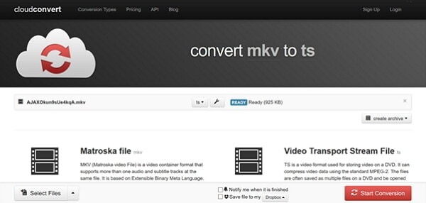 convert MKV to TS by CloudConvert