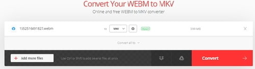 convert WebM to MKV by Convertio