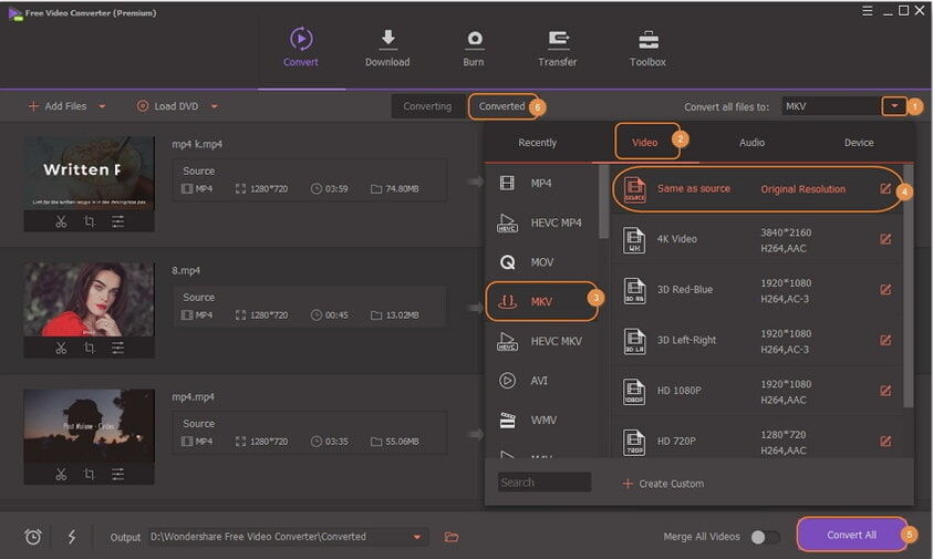 Convert MP4 to MKV with Wondershare Free Video Converter