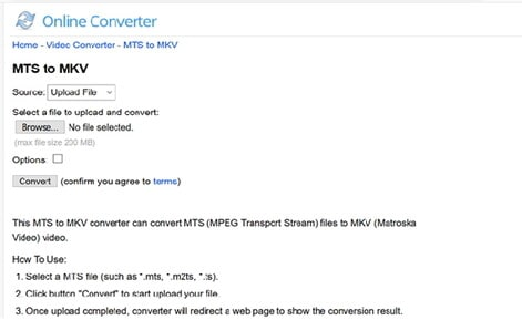 convert MTS to MKV by Online MTS to MKV Converter