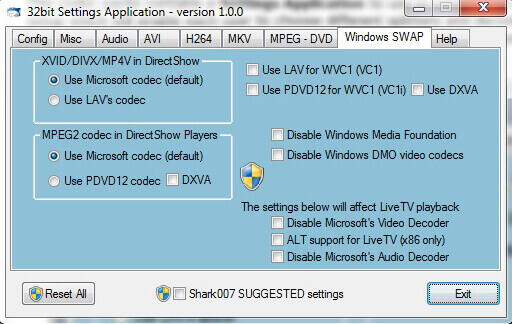 recommended settings for windows media player codec