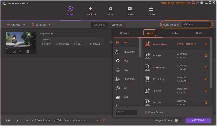 select MKV convert target format