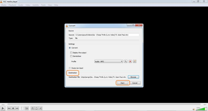 VLC MKV audio converter - step 4