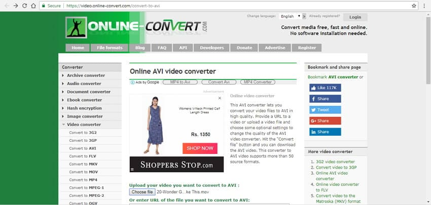 convert mov to avi online with Online Convert