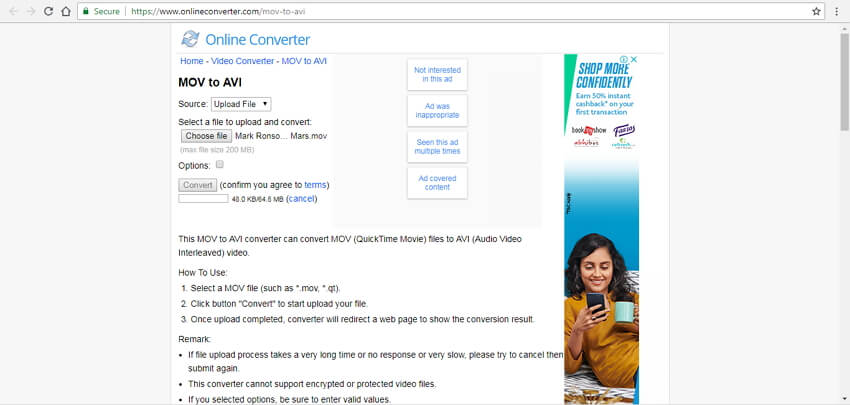 convert mov to avi online with Online Converter