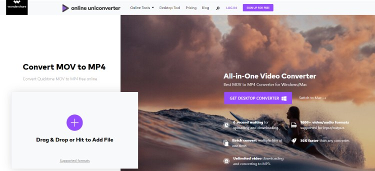 online uniconverter convert mov file to mp4 online free