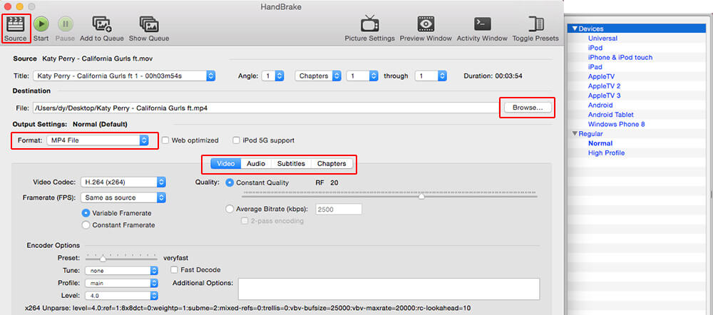 convert mov to mpeg free mac with handbrake