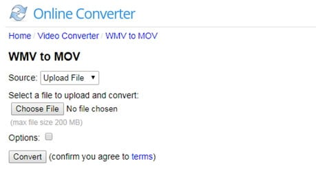 convert wmv to mov online