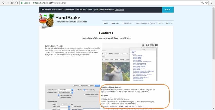 Handbrake supported formats