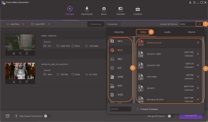free MOV converter - Wondershare Free Video Converter